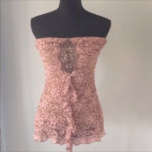 Beautiful Ann Ferriday Lace Strapless Top